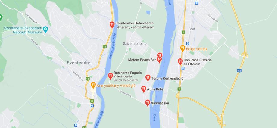 szigetmonostor étterem térkép